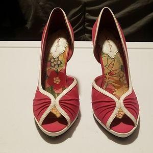 Pink and white peep toe heels